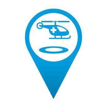 Icono localizacion simbolo helicoptero medico